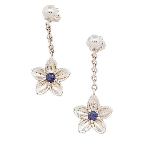 Tiffany & Co. Sterling Silver Flower Drop Earrings
