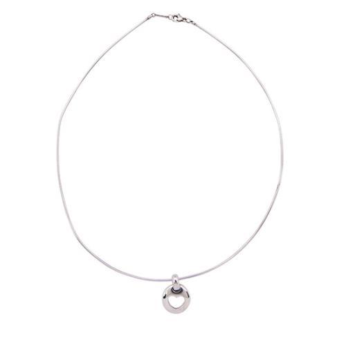 Tiffany & Co. Sterling Silver Heart Stencil Wire Necklace