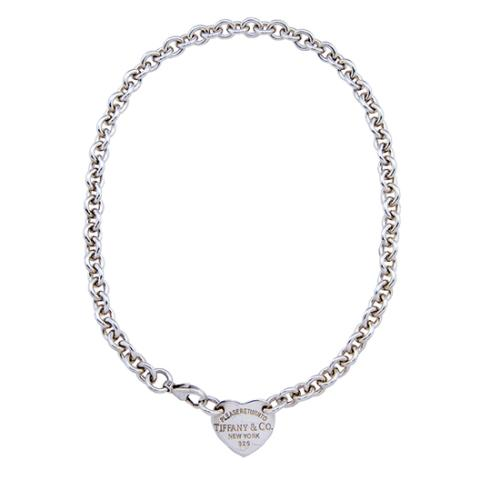 Tiffany & Co. Sterling Silver Heart Tag Choker
