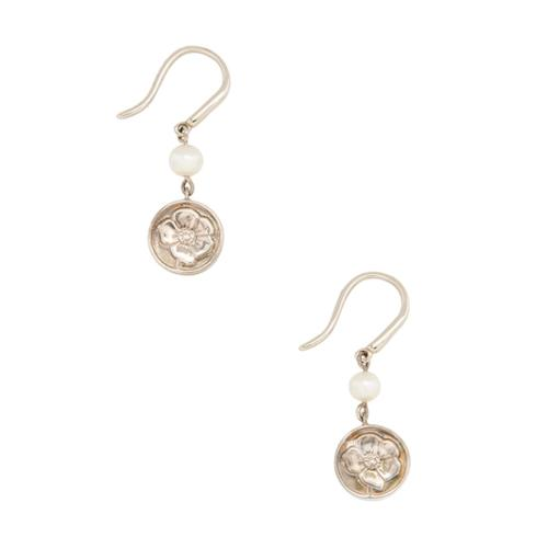 Tiffany & Co. Sterling Silver Pearl Nature Rose Drop Earrings