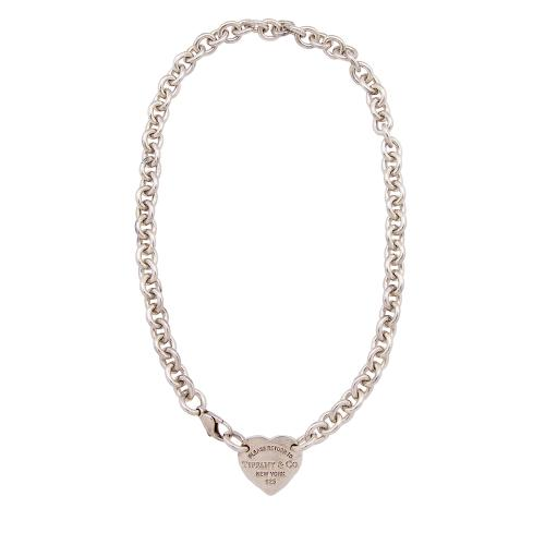 Tiffany & Co. Sterling Silver Return To Tiffany Heart Tag Choker Necklace