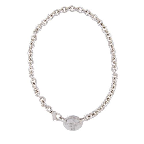 Tiffany & Co. Sterling Silver Return To Tiffany Oval Tag Choker Necklace