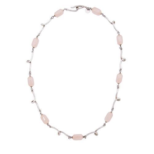 Tiffany & Co. Sterling Silver Rose Quartz Twirl Station Necklace