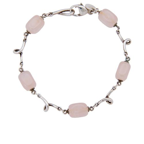 Tiffany & Co. Sterling Silver Rose Quartz Wire Bracelet