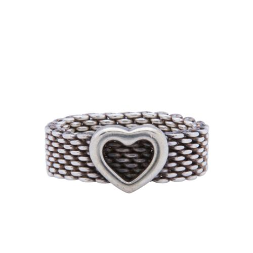Tiffany & Co. Sterling Silver Somerset Heart Ring - Size 5