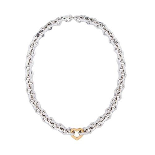 Tiffany & Co. Sterling Silver & 18kt Yellow Gold Heart Link Necklace