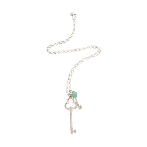Tiffany co trefoil key pendant w mini heart key pendant oval tiffany co trefoil key pendant w mini heart key pendant oval link necklace aloadofball Image collections