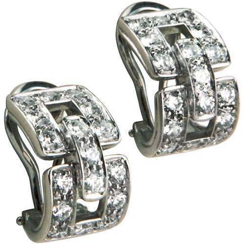 Tiffany & Co. Vintage Deco Hoop Pave Diamond Earrings