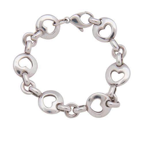 Tiffany & Co. Vintage Sterling Silver Stencil Heart Link Bracelet