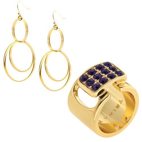 Trina Turk Gold Belt Ring & Earrings