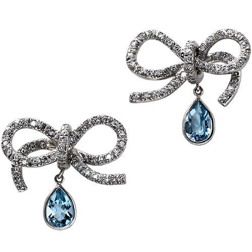 Vera Wang Aqua Bow Earrings