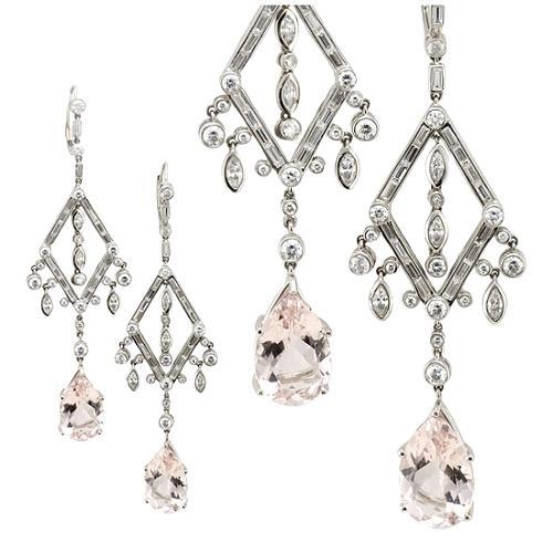 Vera Wang Diamond Shape Morganite Earrings