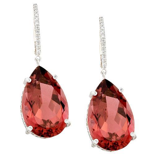 Vera Wang Pink Tourmaline Drop Earrings