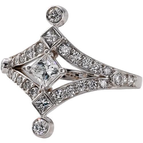 Vera Wang Platinum Diamond Shaped Ring