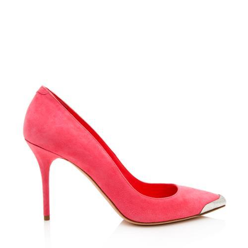 Alexander McQueen Suede Metal Toe Pumps - Size 8 / 38