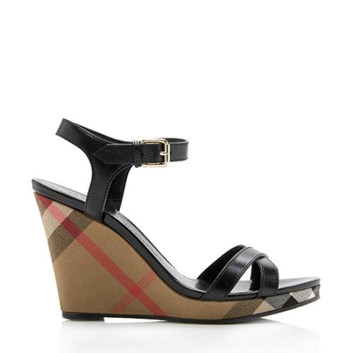 Burberry Canvas Check Leather Wedges - Size 10.5 / 40.5