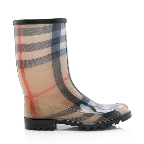 Burberry Haymarket Check Mid Calf Rainboots - Size 8 / 38
