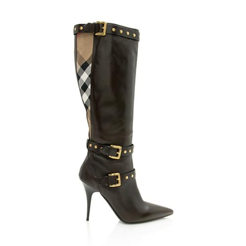 Burberry House Check Leather Bridle Rivet Buckle Knee High Boots - Size 10 / 40