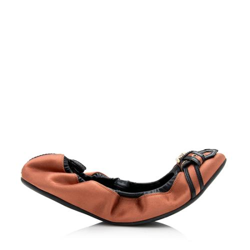 Burberry Satin Leather Thompson Buckle Flats - Size 9 / 39