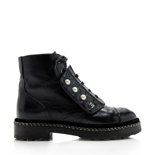 Chanel CC Chain Pearl Combat Boots - Size 7 / 37