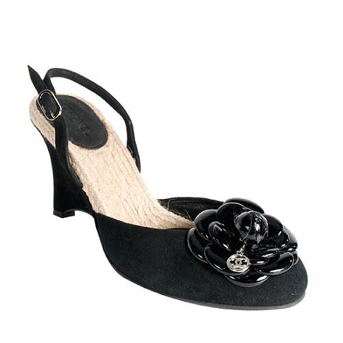 Chanel Camellia Suede Slingbacks - Size 9 / 39