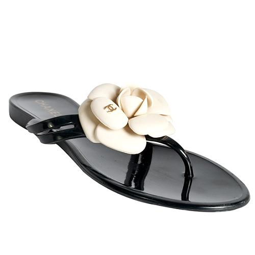 Chanel Camellia Thong Sandals - Size 8 / 38