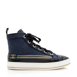 Chanel Canvas Anchor High Top Sneakers - Size 8.5 / 38.5