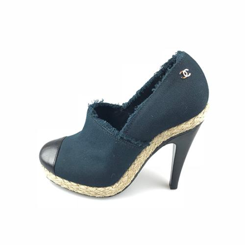Chanel Canvas Espadrille Cap-Toe Pumps - Size 8.5C / 38.5C
