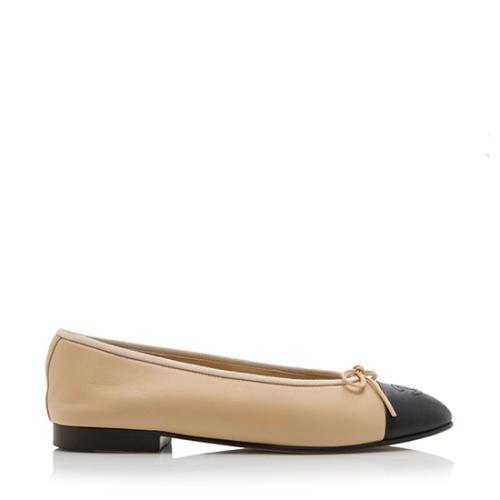 Chanel Cap Toe Ballet Flats - Size 7.5 / 37.5