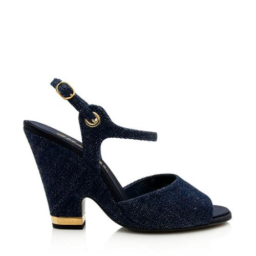 Chanel Denim Wedge Sandals - Size 11 / 41