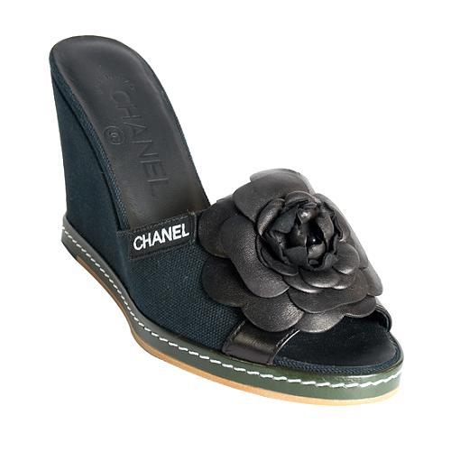 Chanel Espadrille Wedge Sandals - Size 5 / 35