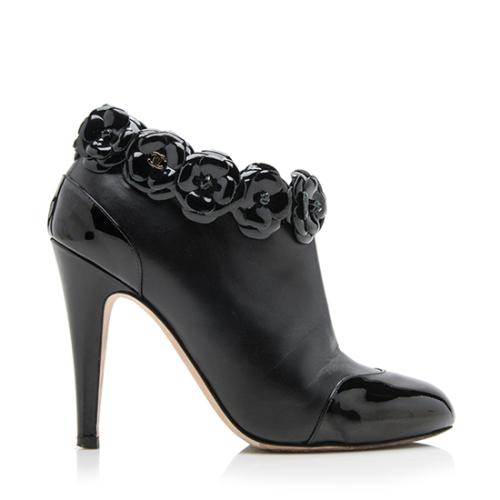 Chanel Lambskin Camellia Wide Ankle Boots - Size 6C / 36C - FINAL SALE