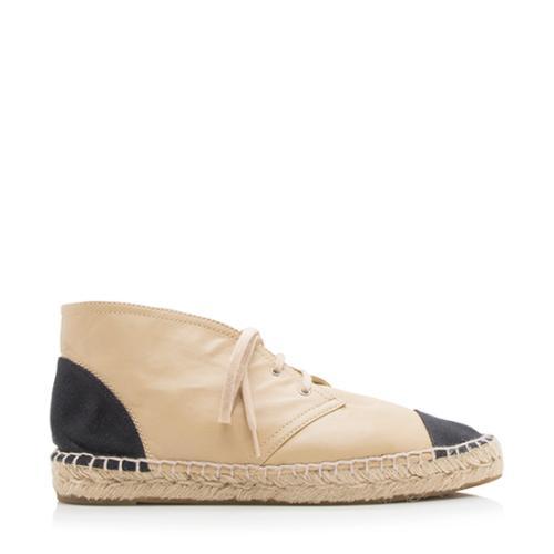 Chanel Lambskin Canvas Cap Toe Espadrille Sneakers - Size 10 / 40