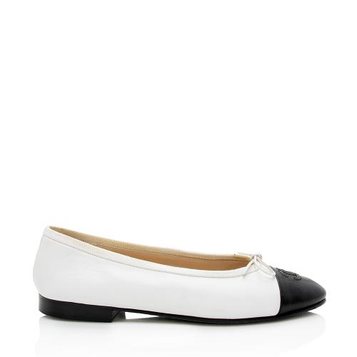 Chanel Lambskin Cap Toe Ballet Flats - Size 5.5 / 35.5