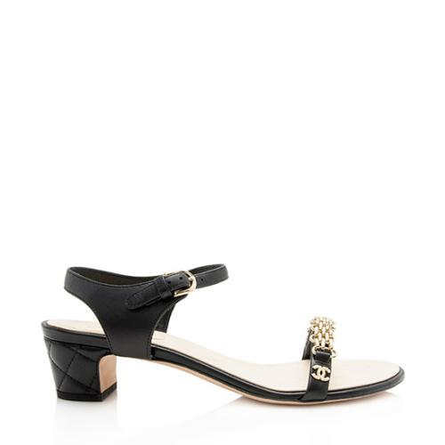 Chanel Lambskin Chain Link Pearl CC Sandals - Size 8.5 / 38.5