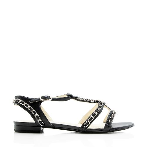 Chanel Lambskin Chain T-Strap Sandals - Size 9 / 39