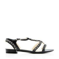 Chanel Lambskin Chain T-Strap Sandals - Size 9 / 39