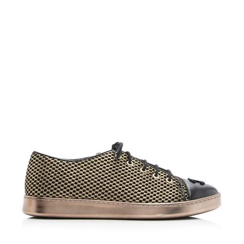 Chanel Lambskin Glitter Mesh Cap Toe Sneakers - Size 10 / 40