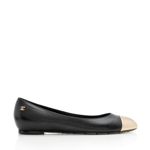 Chanel Lambskin Metallic Cap Toe Ballet Flats - Size 9 / 39