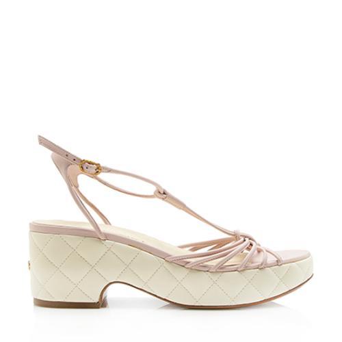 Chanel Lambskin Platform T-Strap Sandals - Size 6 / 36