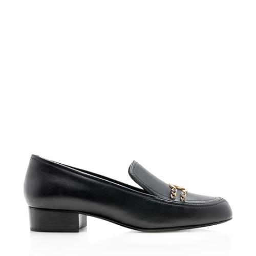 Chanel Leather CC Chain Loafers - Size 11 / 41