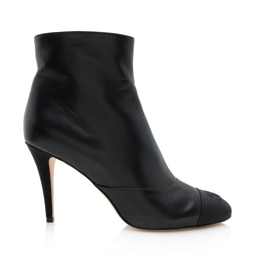 Chanel Leather Grosgrain CC Cap Toe Booties - Size 10 / 40