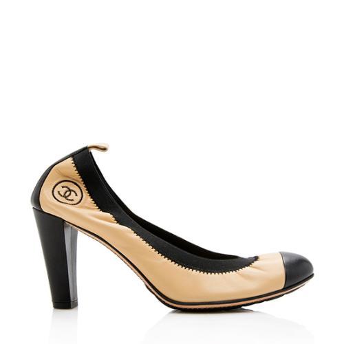 Chanel Leather Stretch Spirit Cap Toe Pumps - Size 9 / 39