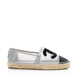 Chanel Mesh Grosgrain CC Espadrille Flats - Size 8 / 38