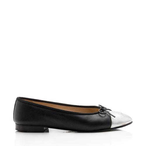 Chanel Metallic Leather Lambskin Cap Toe Bow Ballet Flats - Size 7 / 37