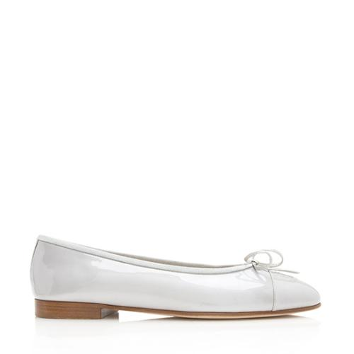 Chanel Patent Leather Cap Toe Bow Ballet Flats - Size 9 / 39
