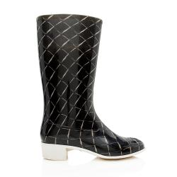 Chanel Quilted CC Rain Boots - Size 9 / 39