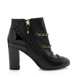 Chanel Quilted Calfskin Patent Leather Chain Ankle Booties - Size 7 / 37