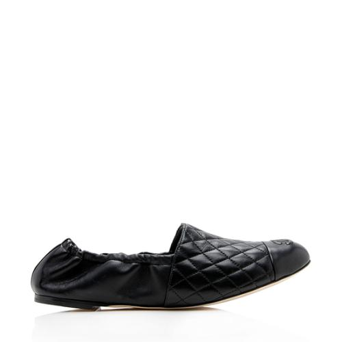 Chanel Quilted Lambskin Gathered Flats - Size 11 / 41