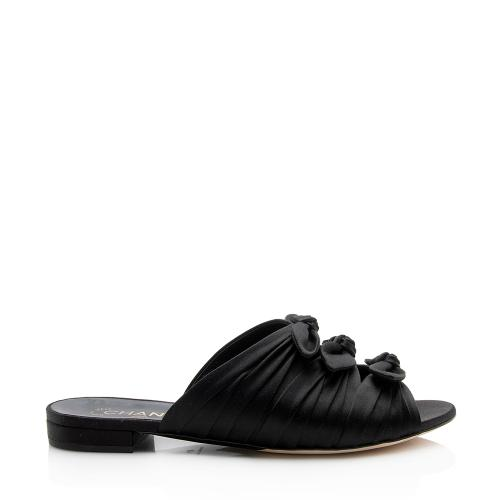 Chanel Satin Bow Mule Slide Sandals - Size 10 / 40
